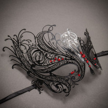 Venetian Swan Party Masquerade Mask with Rhinestones and Bling - Black Red