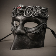 Bauta Skull Full Face Mask - Silver Black