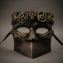 Bauta Skull Masquerade Party Full Face Mask - Gold Black