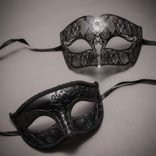 Black Classic Eyes Mask and Black Laser Cut Masks for Couple