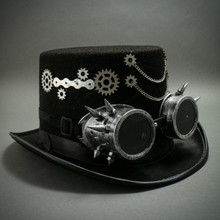 Steampunk Top Hat with Chaines & Goggles- Black