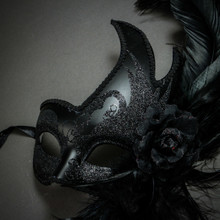 Masquerade Side Feather Glitter Venetian Costume Prom Mask - Black