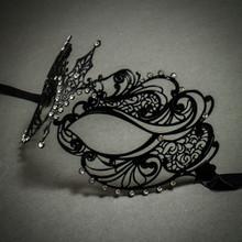 Charming Princess Venetian Masquerade Mask With Diamonds - Black