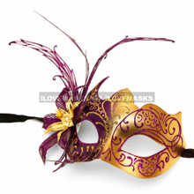 New Shiny Side Flower Venetian Masquerade Party Mask - Gold Purple