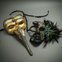 Venetian Zanny Style Long Nose & Black Green Feather Half Face Masks Party Prom Masquerade for Couple