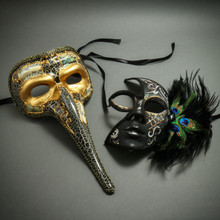 Venetian Zanny Style Long Nose & Black Silver Feather Half Face Masks Party Prom Masquerade for Couple