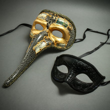 Venetian Zanny Style Long Nose & Black Glitter Lining Eye Mask Party Prom Masquerade for Couple