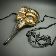 Venetian Zanny Style Long Nose & Black Laser Cut Princess Mask for Party Prom Couple's Masquerade