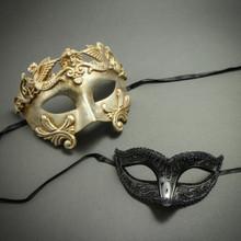 Silver Venetian Roman Warrior Greek Men Mask & Luxury Black Glitter Women Eye Mask Couple's Masquerade