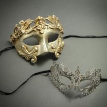 Silver Venetian Roman Warrior Greek Men Mask & Laser Cut Filigree Princess Masquerade Masks for Couple
