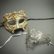 Party Masquerade Masks for Couple - Silver Venetian Roman Warrior Greek Men Mask & Laser Cut Phantom of the Opera Filigree Mask