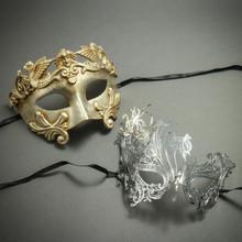 Silver Venetian Roman Warrior Greek & Swan Rhinestone Laser Cut Mask Masquerade for Couple