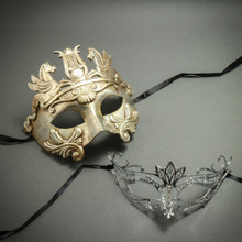 Silver Venetian Warrior Pegasus Mask & Laser Cut Rhinestone Filigree Eye Mask - Party Mask Masquerade for Couple