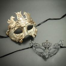 Silver Venetian Warrior Pegasus Mask & Princess Crown Laser Cut Rhinestone Party Masquerade Masks for Couple