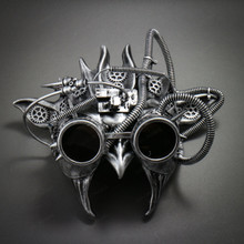 Steampunk Demon Devil Satan Masquerade Mask - Black Silver