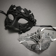 Couple's Masquerade Masks - Black Venetian Rome Greek Warrior & Silver Royal Queen Laser Cut Mask