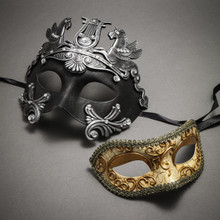 Couple's Masquerade Masks - Black Silver Roman Horse Warrior & Glitter Gold Lining Venetian Mask