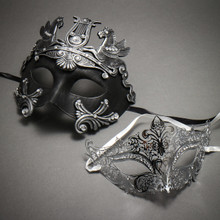 Couple's Masquerade Masks - Black Silver Roman Horse Warrior & Silver Royal Queen Laser Cut Mask