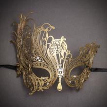 Beautiful Swan Metal Laser Cut Silver Stones Masquerade Mask - Gold