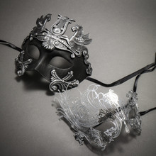 Couple's Masquerade Masks - Black Silver Greek Warrior & Silver Swan Charming Rhinestones Mask