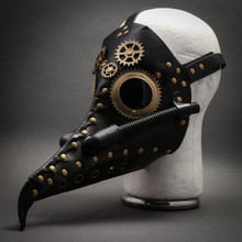 Steampunk Plague Doctor Mask Gear Long Nose Masquerade Halloween Costume - Black Gold