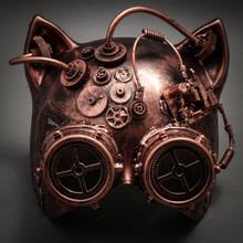 Metallic Steampunk Goggles Venetian Gatto Cat Mask Masquerade - Copper