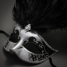 Venetian Glitter Crystal Masquerade Party Mask with Feather - Silver Black