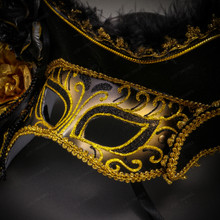 Venetian Pirate Lady Masquerade Mask Hat - Black Gold
