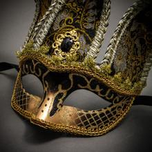 Jester Joker Venetian Half Face Mask with Bells - Black Gold