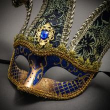 Jester Joker Venetian Half Face Mask with Bells - Blue Gold