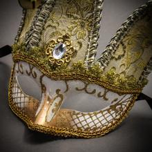 Jester Joker Venetian Half Face Mask with Bells - White Gold