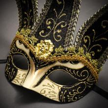 Jester Joker Venetian Half Face Mask with Bells - Gold Black