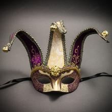 Jester Joker Venetian Half Face Mask with Bells - Gold Purple