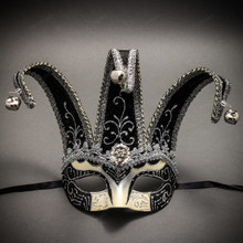 Jester Joker Venetian Half Face Mask with Bells - Silver Black
