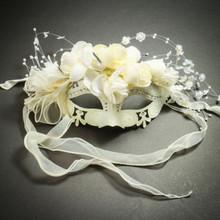 Elegant Venetian Laser Cut Metal Flower Rhinestone Wedding Mask - White