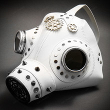 Leather Steampunk Plague Doctor Gas Mask Halloween Masquerade - White