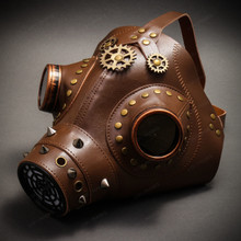 Leather Steampunk Plague Doctor Gas Mask Halloween Masquerade - Brown