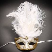 Venetian Glitter Crystal Masquerade Party Mask with Feather - White Gold