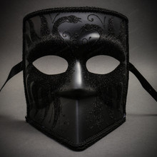 Bauta Full Face Luxury Venetian Men & Women Party Mask Masquerade - Black