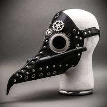 Steampunk Long Nose Plague Doctor Mask Masquerade Halloween Costume - Black Silver