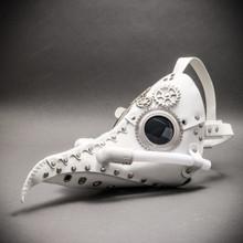 Steampunk Long Nose Plague Doctor Mask Masquerade Halloween Costume - White