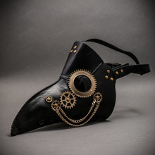 Plague Doctor Long Nose Steampunk Masquerade Cosplay Costume Mask - Black Gold