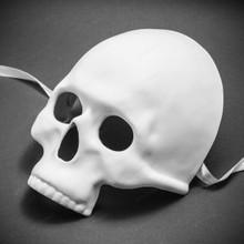 Halloween Skull Skeleton Adult Costume Masquerade Face Mask - White