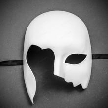 Unpainted Half Face Costume Masks Masquerade - White