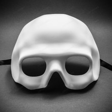 Halloween Skull Half Face Mask Masquerade Day of the Dead - White