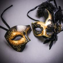 Black Gold Glitter Full Face Phantom Of The Opera & Gold Black Side Feather Glitter Couple Masks Set