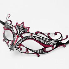 Laser Cut Metal Venetian Masquerade Hot Pink Rhinestone Mask - Black
