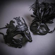 Black Roman Greek Emperor with Pegasus Horses & Black Mardi Gras Eye Mask with Top Feather Couple Masks Set
