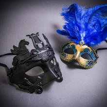 Black Roman Greek Emperor with Pegasus Horses & Gold Mardi Gras Eye Mask with Top Blue Feather Couple Masks Set