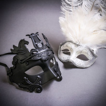 Black Roman Greek Emperor with Pegasus Horses & Silver Mardi Gras Eye Mask with Top White Feather Couple Masks Set